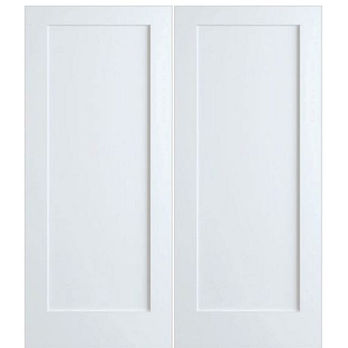 Frameport America Model P 720 2 Shaker Style 1 Panel Primed White Interior Double Doors