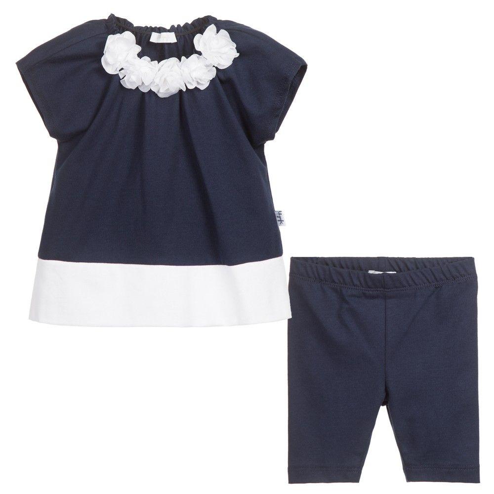Girls Navy Blue Cotton Jersey 2 Piece Leggings Set, Il Gufo, Girl