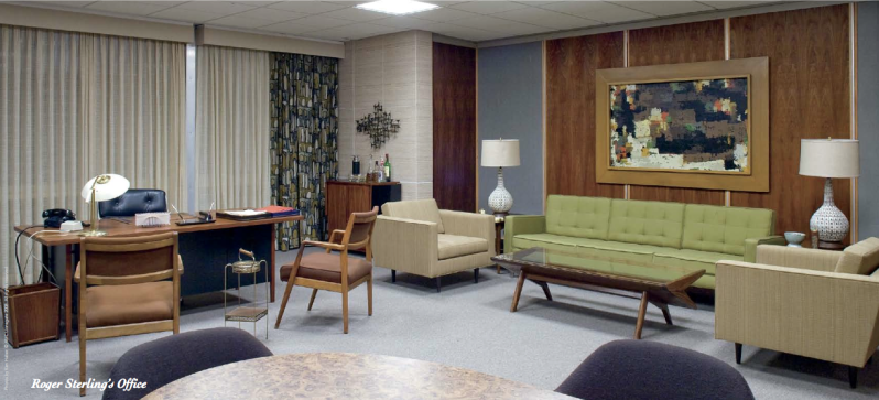 mad men room with green sofa armchairs low coffee table - Mad Man Furniture