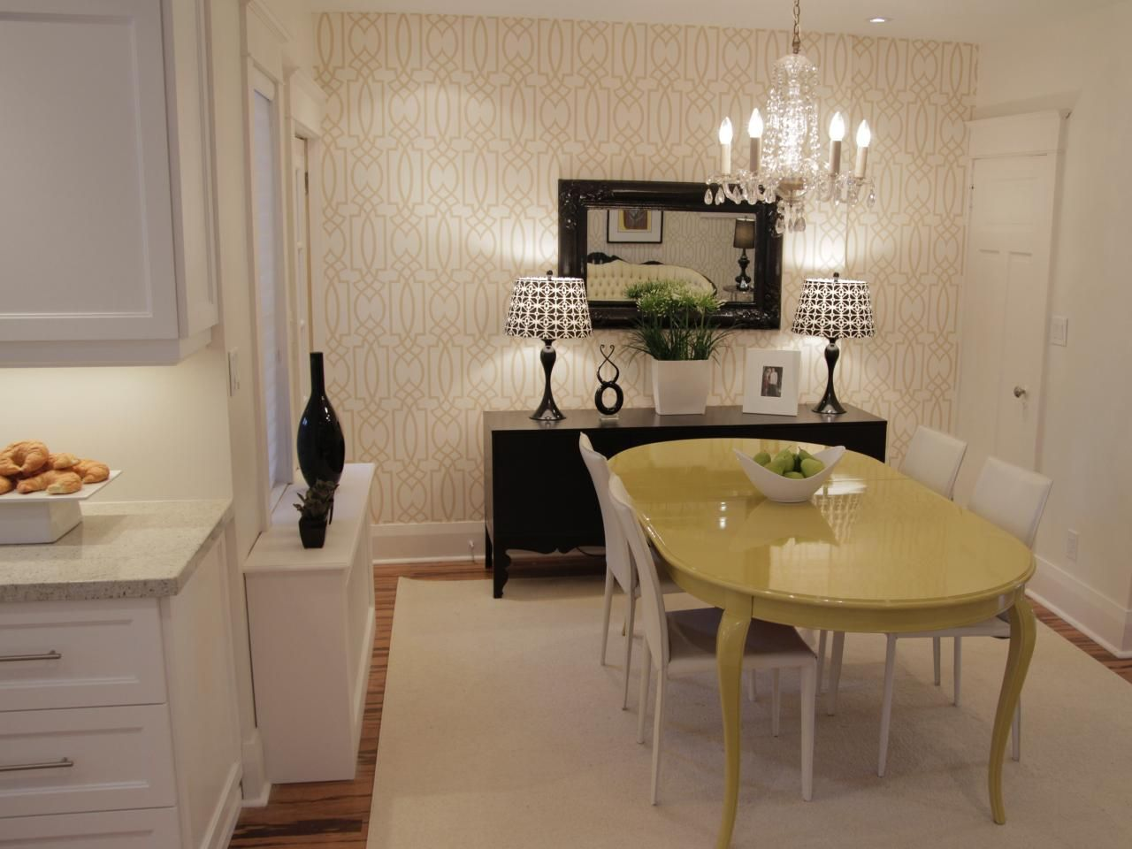 Stylish And Chic Describe This Midcentury Modern Dining Area The Charming Chandelier Highlights Yellow Property Brothers