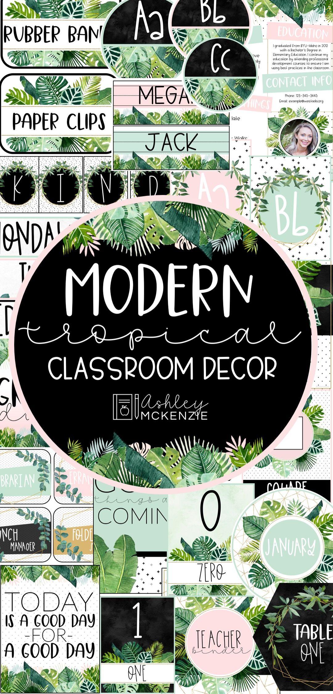 Modern Tropical Classroom Decor #classroomdecor