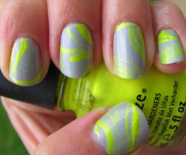 Neon Yellow and Greay Water Marbled Nails by iPolished | Totally My ...
