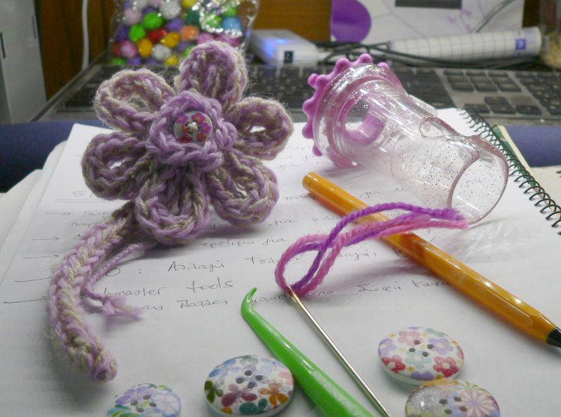 Working On I Cord Flower Pin With Clover Wonder Knitter