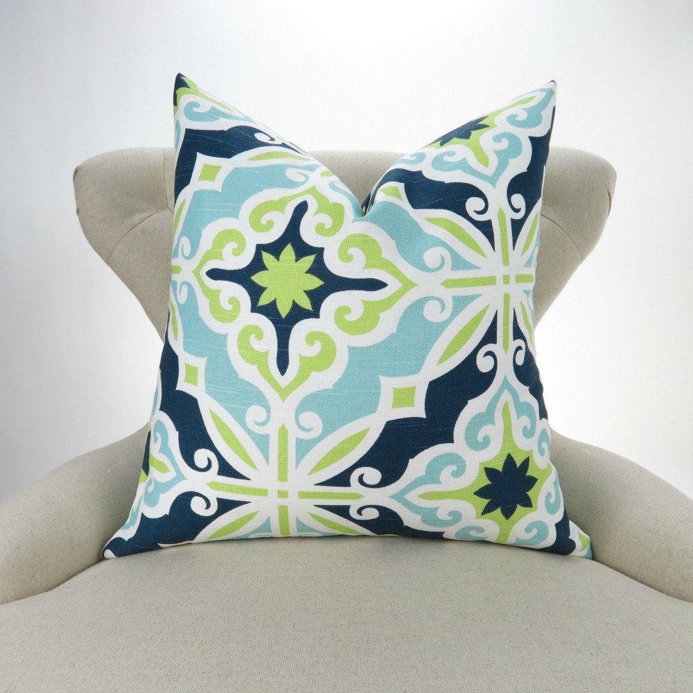 Blue u green pillow cover many sizes navy blue lime green aqua