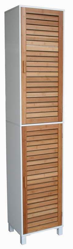 Badregal Bad Hochschrank 190cm Wandschrank Bambus Holz weiß