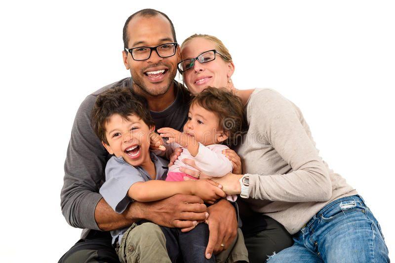 Happy interracial family isolated on white. Happy