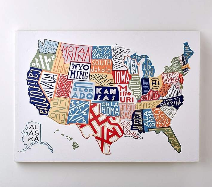 USA Map Art in 2019 | Map mixed media paintings | Map canvas, Art ...