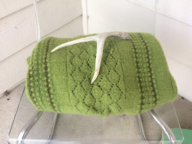 Avocado Green/Wool Blanket/Crochet Throw Blanket/Boho Throw ...