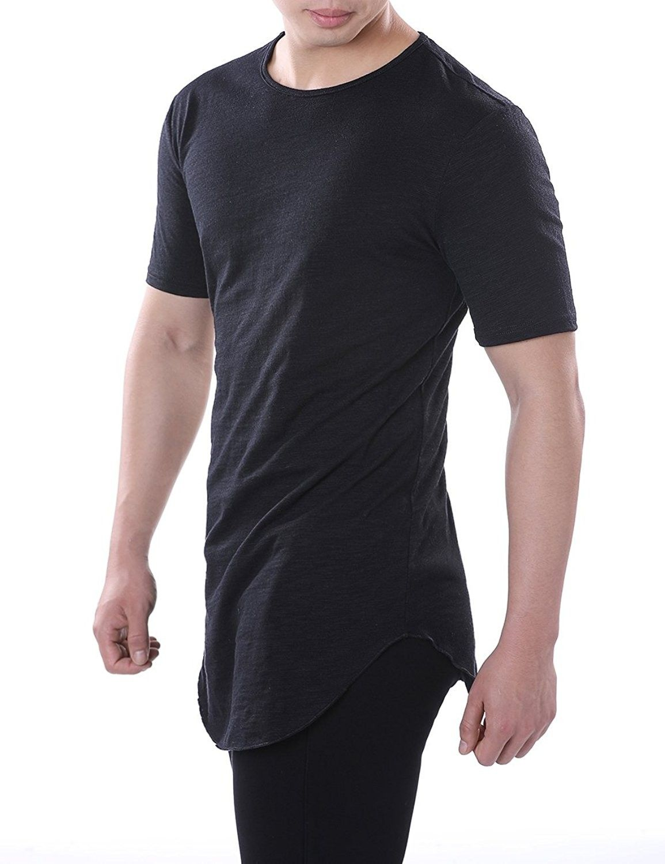 417ec3ebb Men s Cotton Short Sleeve Hipster Hip Hop Curved Hem T Shirt - Black -  CN188SW5LDH