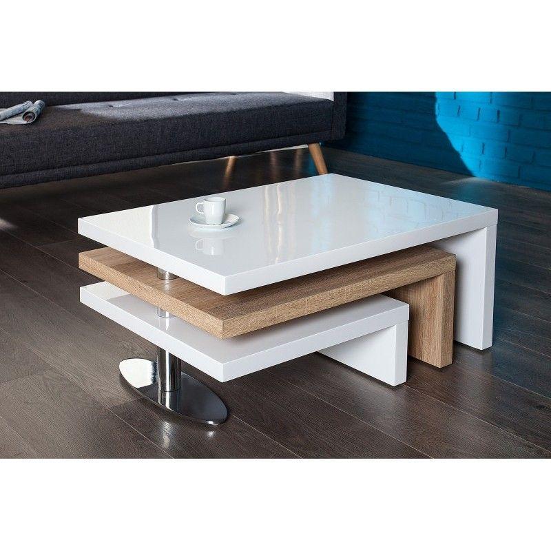 Table Basse Design En Mdf Coloris Sonoma Et Blanc Laque With