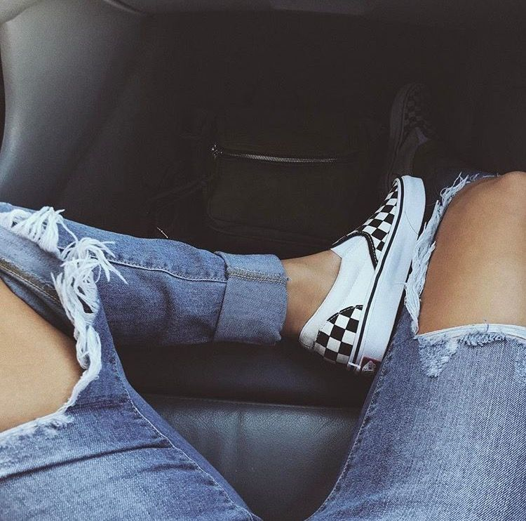 77cb687a92 Distressed Medium Wash Jeans + Checker Slip On Vans + Dark Grey Tee ...