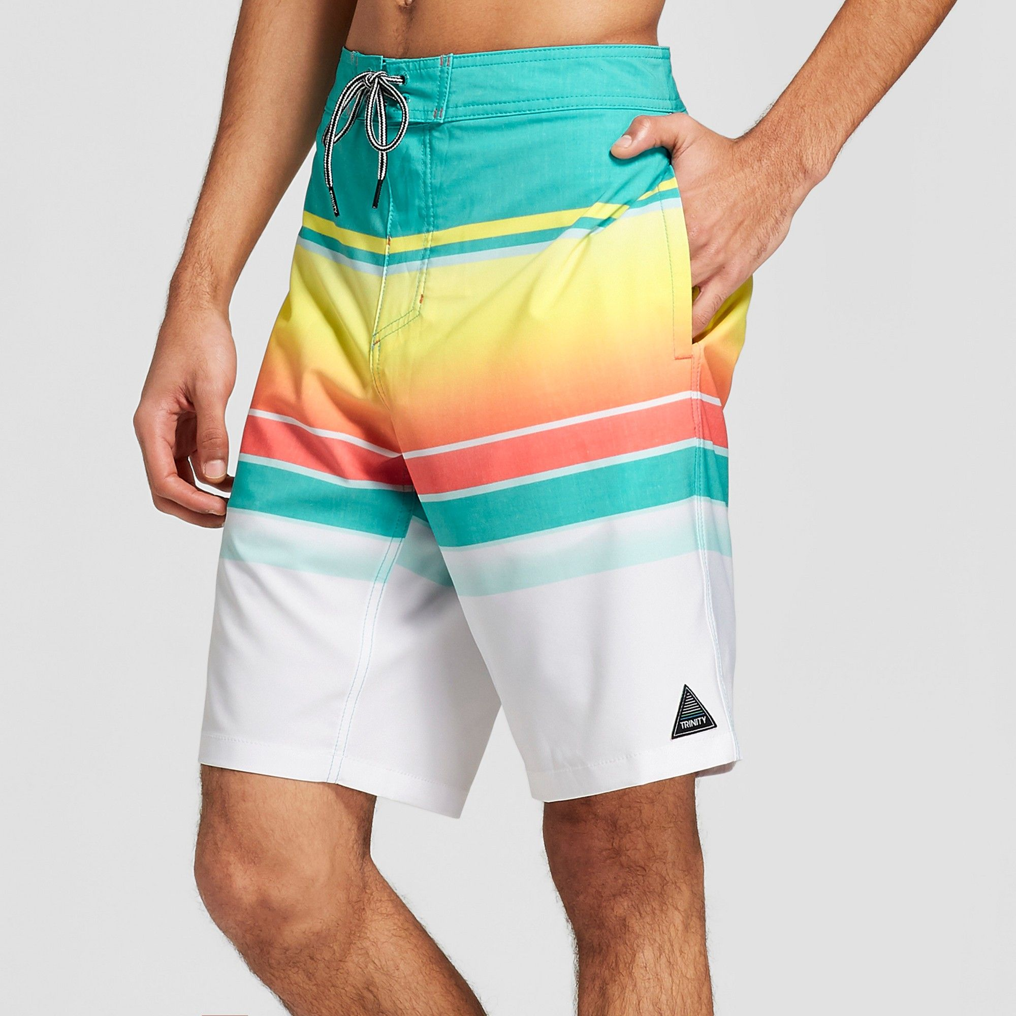 ba926890b287f Trinity Collective Men's Striped 10 Blaster Board Shorts - Teal Lights 33,  Blue