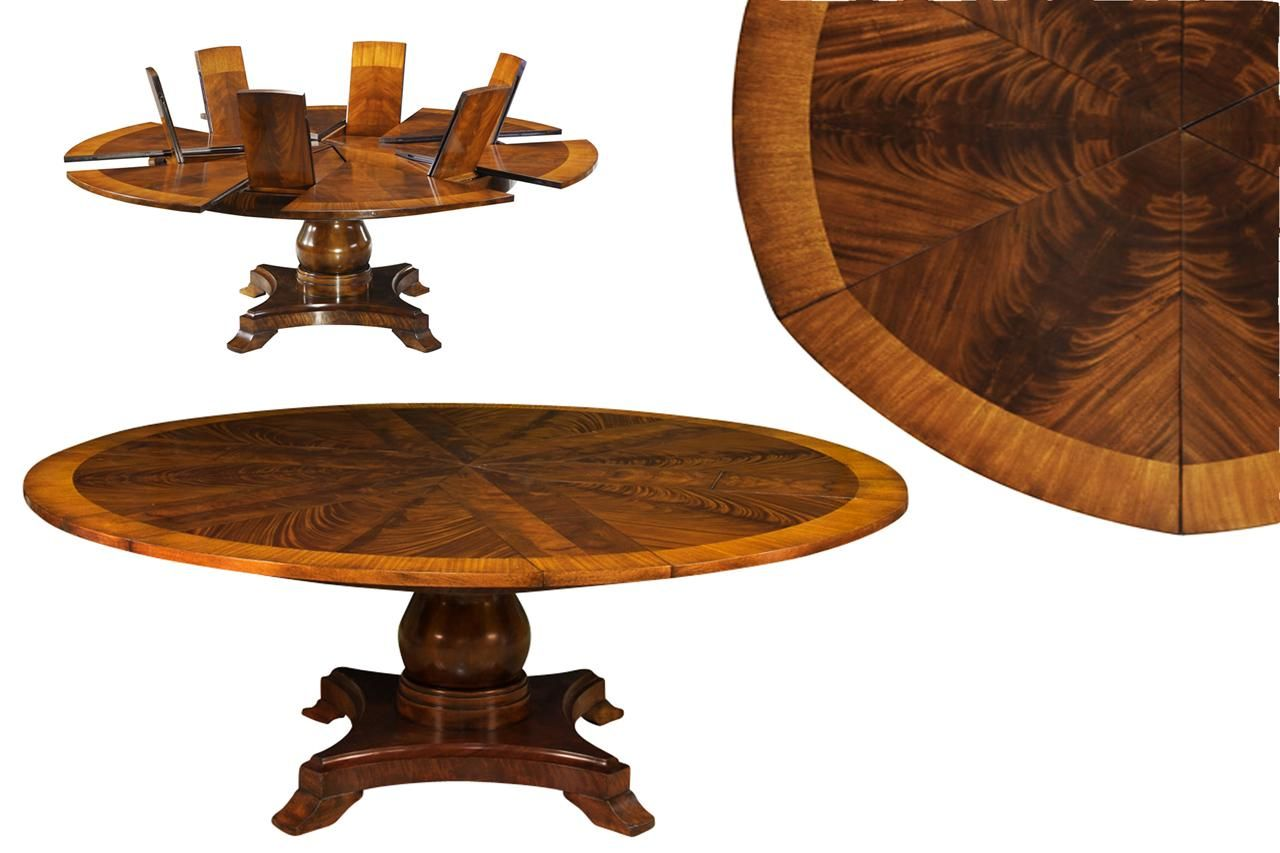 Attrayant Large Round Expandable Table, Satinwood Inlaid Mahogany Pedestal Table
