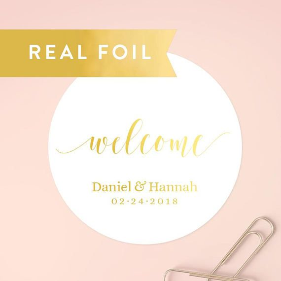 Welcome Wedding Stickers Custom Favor Gift Bag Sticker Box Label Guest Gold Labels Set Of 20