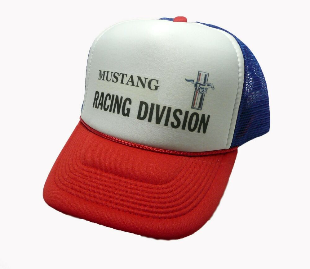 e522654ecfda4 Mustang Racing Division trucker hat mesh hat red white blue new Snap back  hat  Heyhats  Trucker