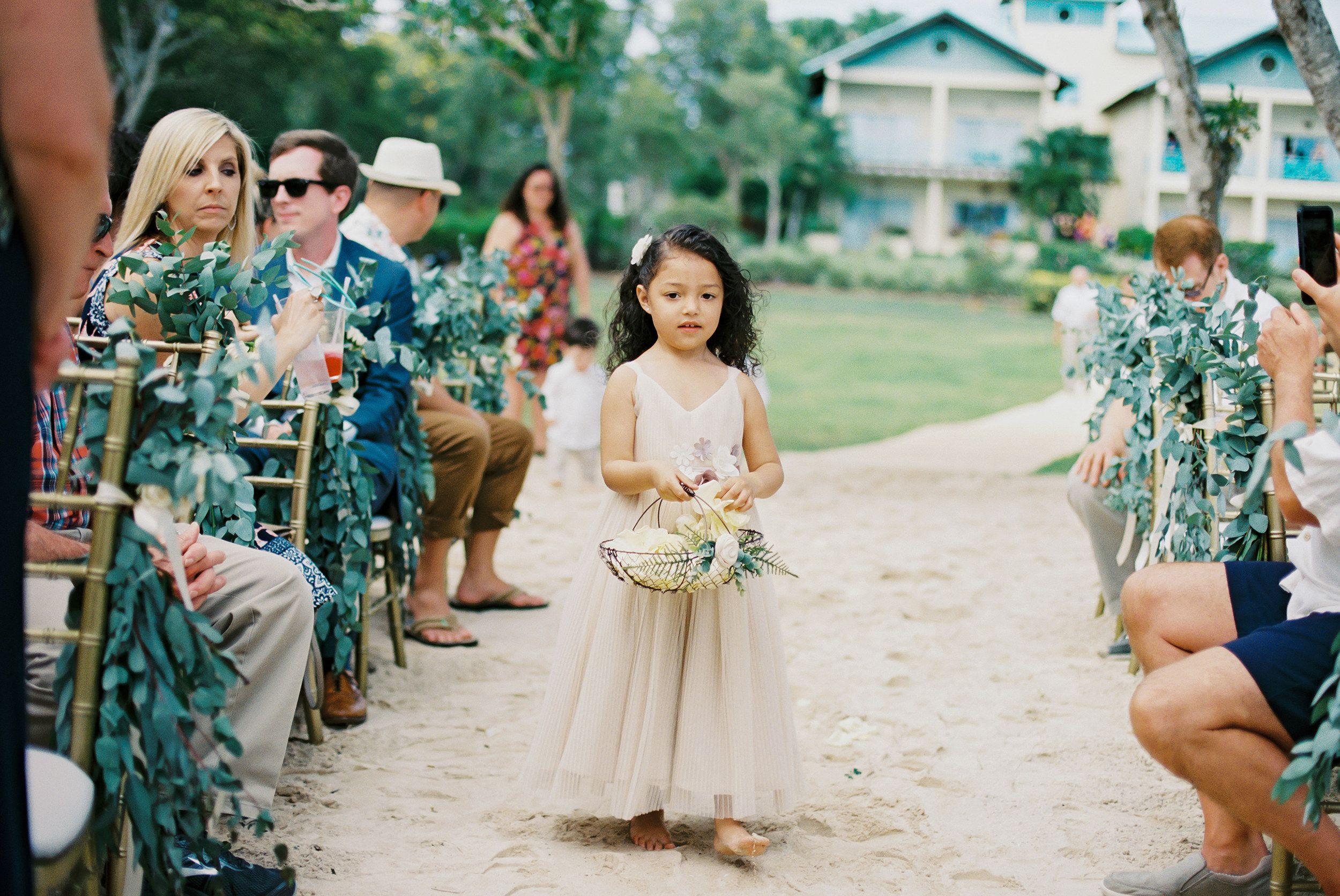 5cb2d8243f Botanical wedding. Flower girl dress. Beach wedding. Destination wedding.  Dreams Resort and Spa la Romana. Dominican Republic.