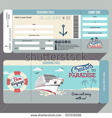 Cruises to Paradise Cruise ship boarding pass flat graphic design - best of invitation template boarding pass