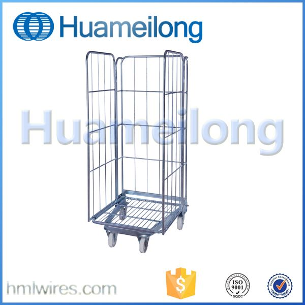 Foldable steel logistics metal storage wire mesh roll container with
