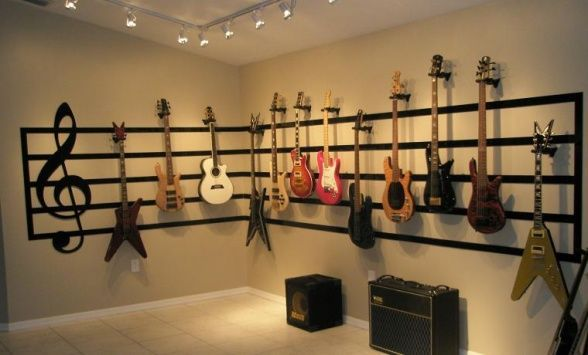 Music room decorating ideas great room guitar display - Display living room decorating ideas ...