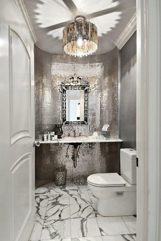 silver, mirrored bathroom
