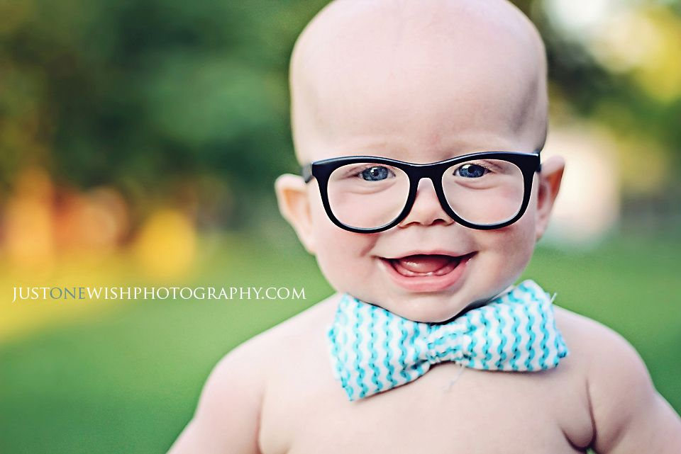 Baby bow tie and nerd glasses. 6 month pictures