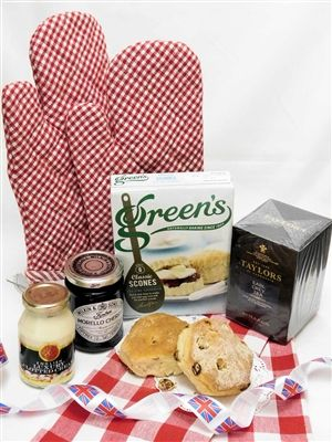 Bake Your Own Tea Party Goldenberry read to ship selection! Imported Scone mix, clotted cream, jam & tea from England with oven mitts & a tea towel. www.goldenberrygourmet.com