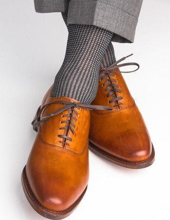 Black and Ash Grenadine Cotton Sock Linked Toe Mid Calf