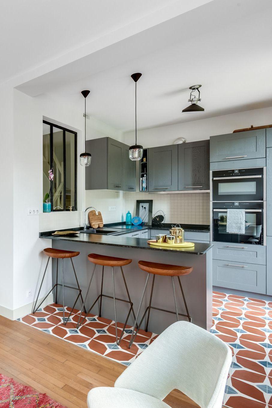 Maison issy les moulineaux r novation d 39 une meuli re de 80 m2 maison de r ve par c t - Petite cuisine ouverte sur sejour ...