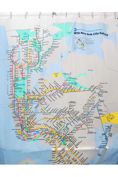 New York Subway Map Shower Curtain