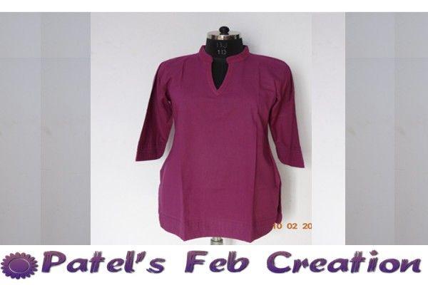 Patel's Designed Purple Color Pure Cotton Jaipur Plain Kurti now get Rs. 340/- only