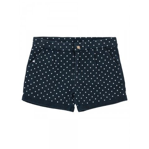 Girl's navy-blue shorts with white micro polka-dots SUN68 SS15 KIDS #SUN68 #SS15 #kids #girl #shorts