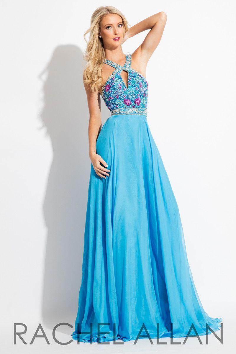 Rachel allan aqua halter prom dress best ones pinterest