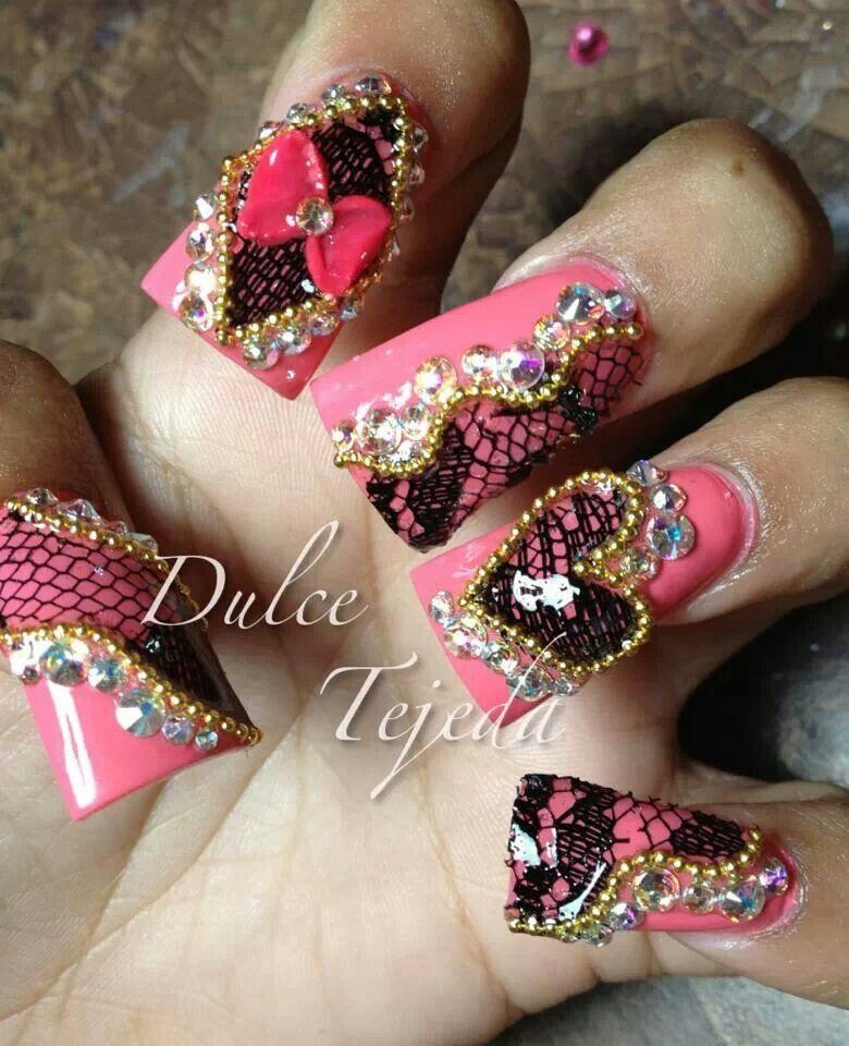 Dulce Tejeda nails fb. Color coral | acrilico | Pinterest | Encaje ...