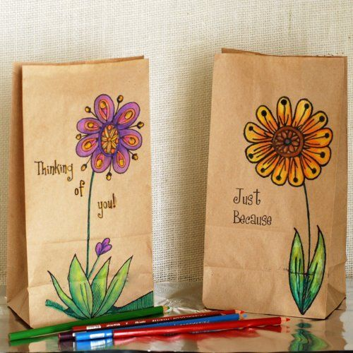 Paper Lunch Bags Decorated With Colored Pencil Drawings Click On Link For Tutorial And Info Http Www Easypape Paper Bag Crafts Artsy Gift Brown Bags Crafts