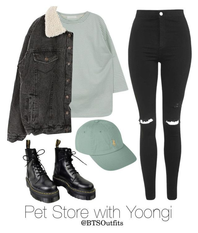 Pet Store with Yoongi by btsoutfits ❤ liked on Polyvore featuring Topshop, Dr. Martens and Polo Ralph Lauren #koreanstyleclothing