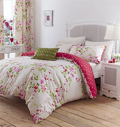 PINK CREAM ROSE FLORAL COTTON BLEND CANADIAN TWIN (135CM X 200CM - UK SINGLE) REVERSIBLE COMFORTER COVER SET Duvet Cover http://www.amazon.com/dp/B016YGWDA8/ref=cm_sw_r_pi_dp_wGt0wb07A32SG