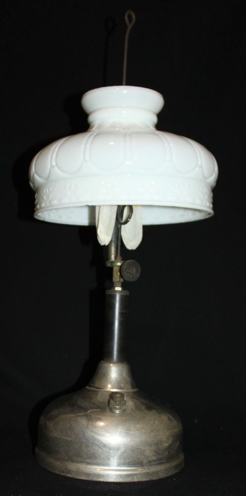 Vintage Coleman Quick Lite Gas Lantern Camping Hanger Lamp Milk Glass Shade K0 Coleman Lamp Coleman Lantern Light