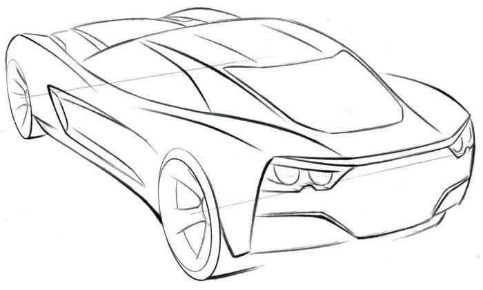 corvette sport car coloring page