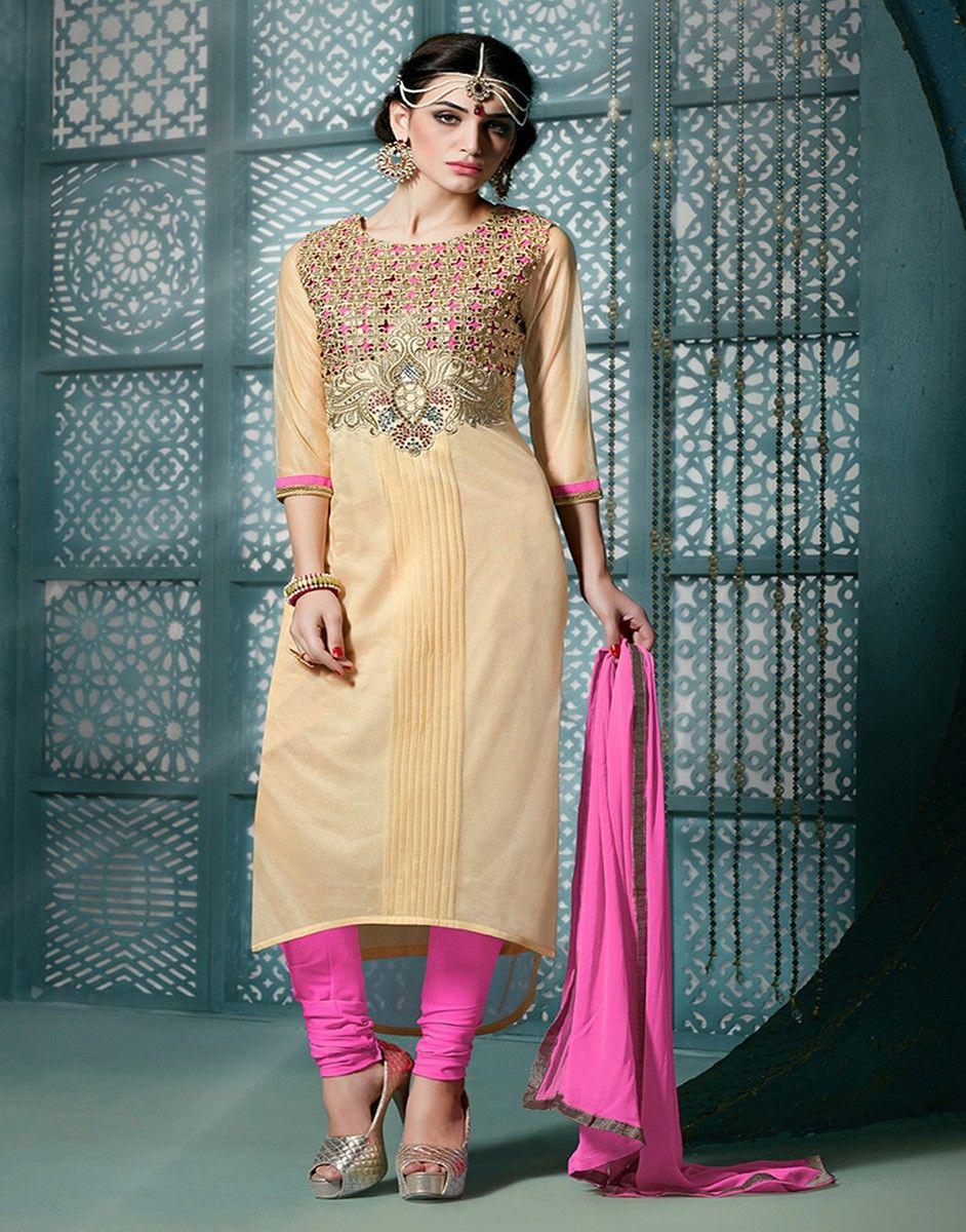 Lycra Zari Work Cream Semi Stitched Churidar Suit - 3007