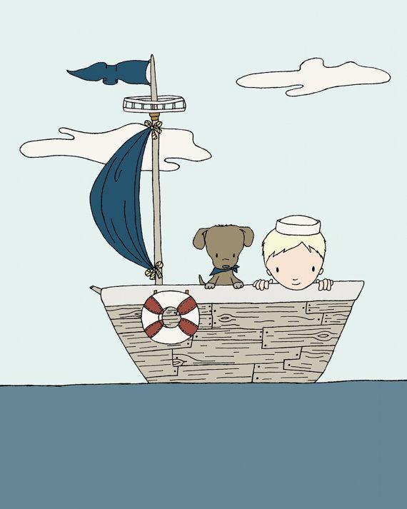 Nautical Nursery Art Sail Along The Sea Boy And Dog Sailboat Adventure Children S Print Kids Wall
