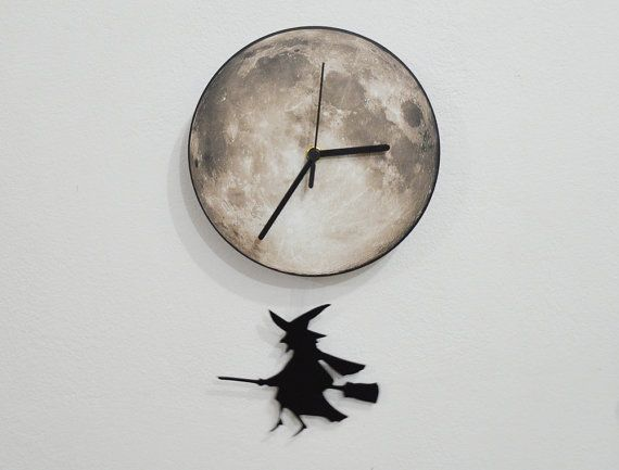 Witch Broom Full Moon  Pendulum Wall Clock by ObjectIndustrialArt, $28.90