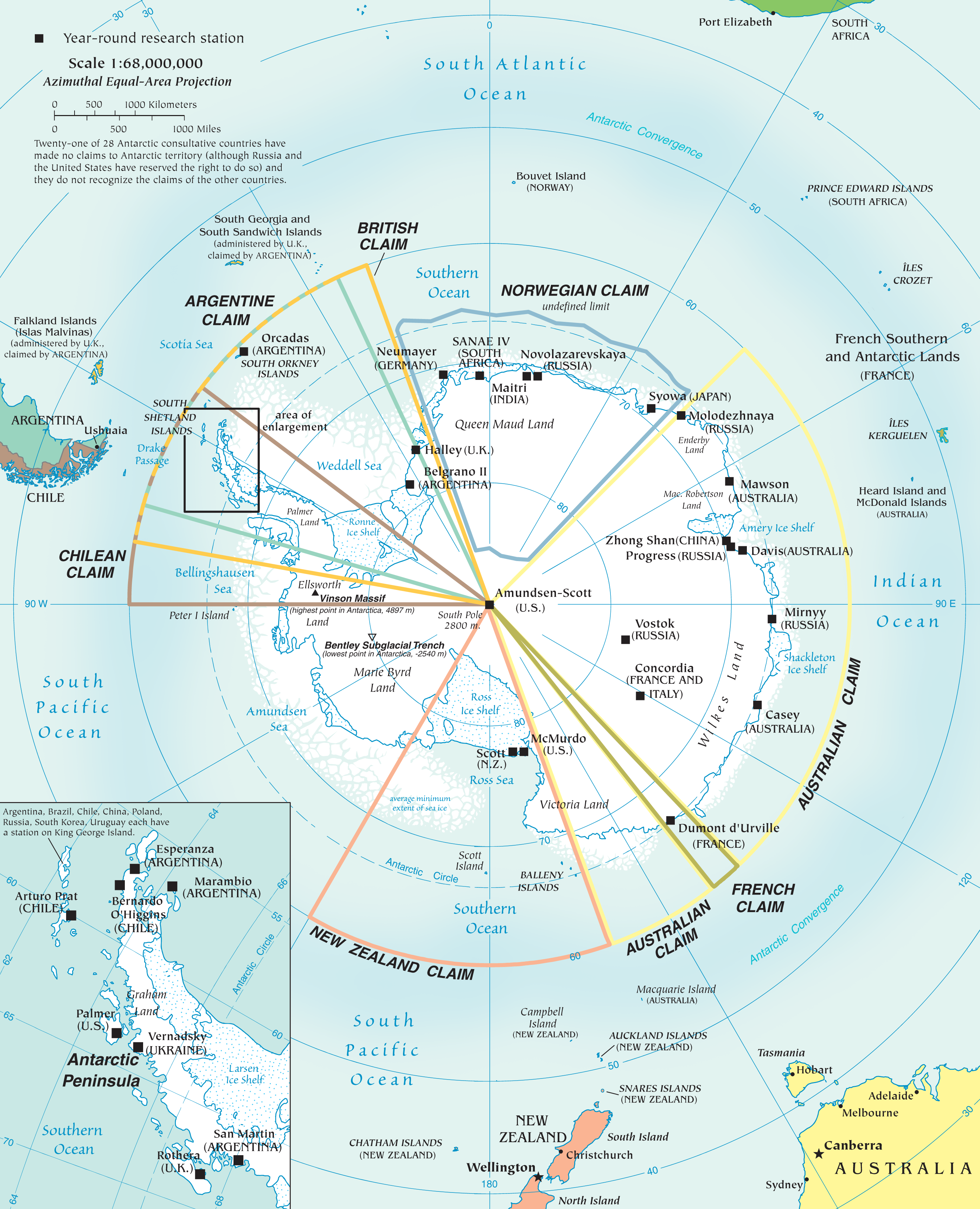 Map of Antarctica that allows for significant enlargement through a ...