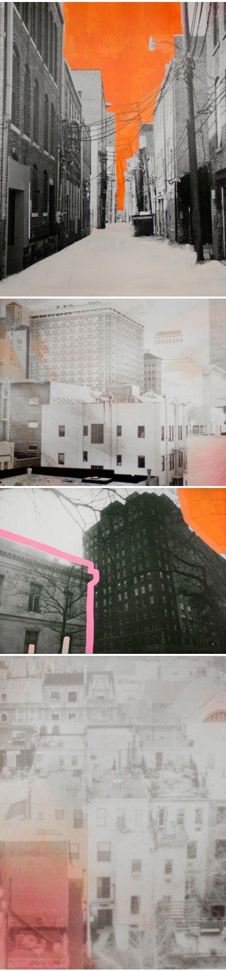 #britt bass & #morgan blake collaboration #cityscape #orange #art #abstract #pop #surrealism #bakehouseboards