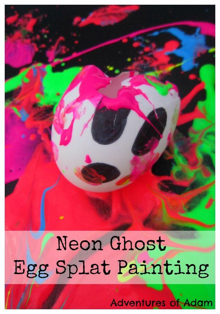 Neon Ghost Egg Splat Painting. Halloween inspired toddler craft. Fill duck eggs…