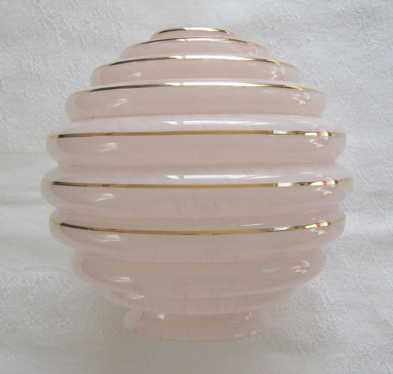 Art deco large globe type lampshade in pink flake glass ribbed art deco large globe type lampshade in pink flake glass ribbed with gilt banding mozeypictures Image collections