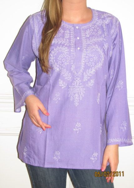 7962cf3a681 Purple Cotton Tunic Top  34.99 pure cotton embroidered Indian Tunic with  long sleeves