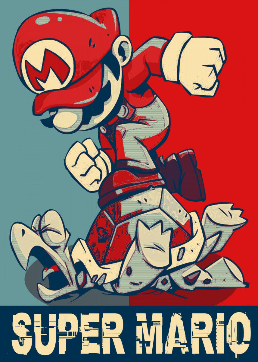 Super Mario Pop Art Poster Print Metal Posters Displate In 2020 Super Mario Art Mario Art Super Mario