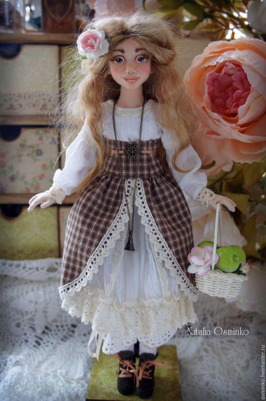 Купить Ольга - бежевый, авторская кукла, текстильная кукла, наталья осминко, кукла ручной работы