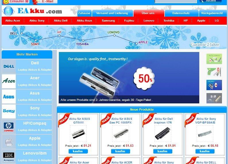 www.eakku.com ist ein Online- Vertrieb von hochwertigen Laptop-Batterien und Adapter. Diese Website bietet Ihnen die höchste Qualität der Produkte und dem freundlichsten Service, Ersatz innerhalb von zwei Monaten , sechs Monate Garantie.