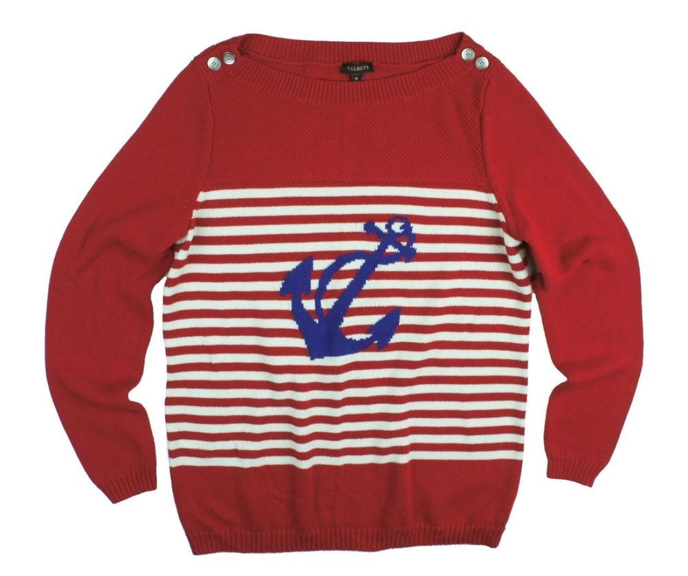 New TALBOTS Size M Red White Blue Button Boatneck Anchor Sweater ...